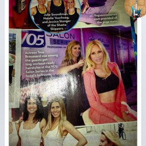 Tess Broussard in OK!Magazine 7-7-14 issue getting workout hair for a workout#body&soul event