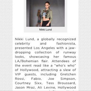 Tess Broussard mentioned in @Popwrapped , Celebs attending Nikki Lund  Spring/Summer Fashion Show 2017